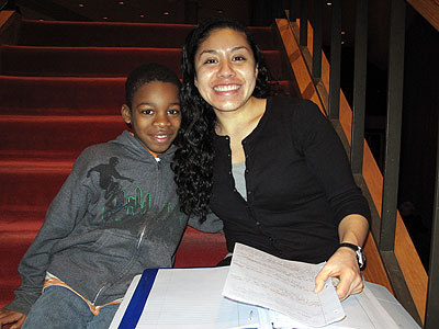 Photo of Laura Romani and the fourth grader she interviewed