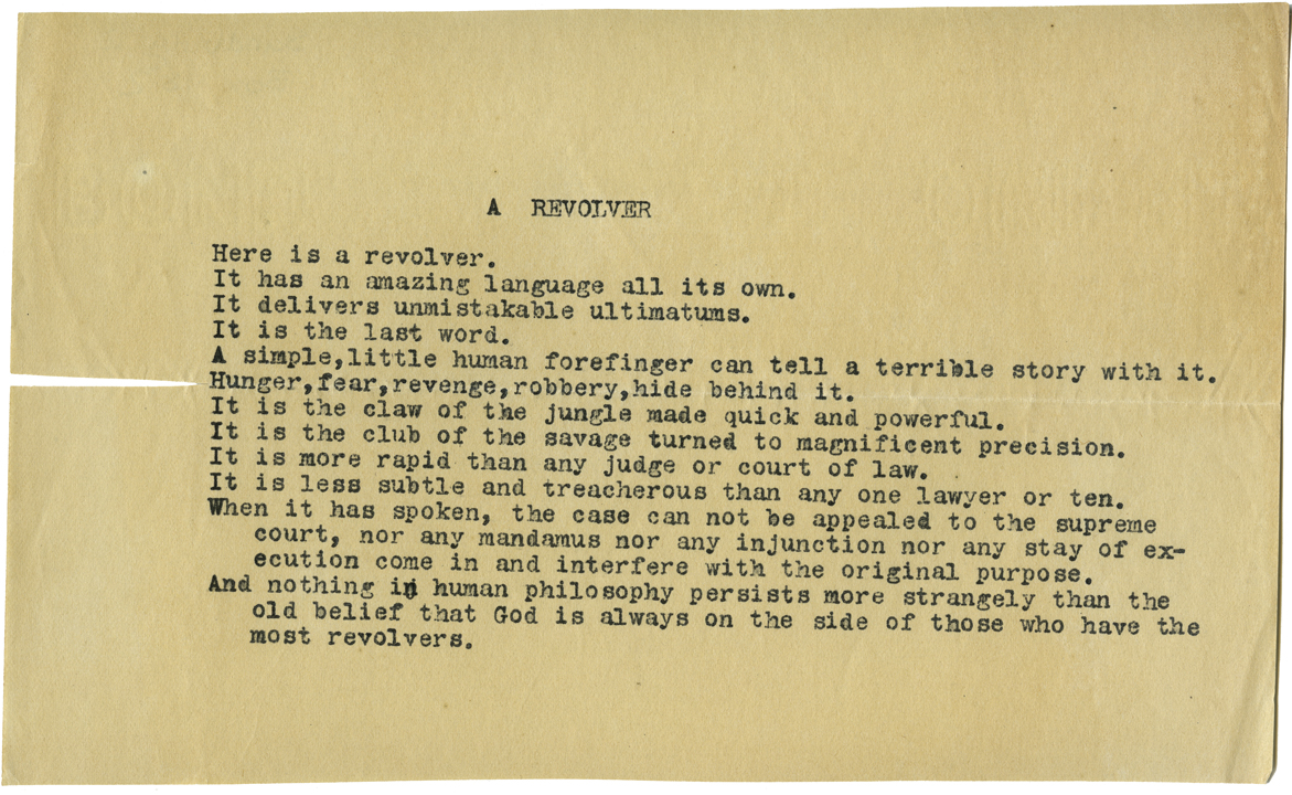 """Sandburg's """"A Revolver"""""""