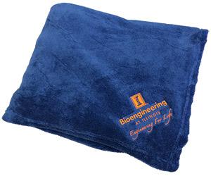 Photo of Bioengineering-branded fleece blanket.