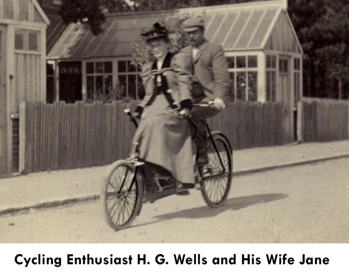 hg wells and jane wells on a bike