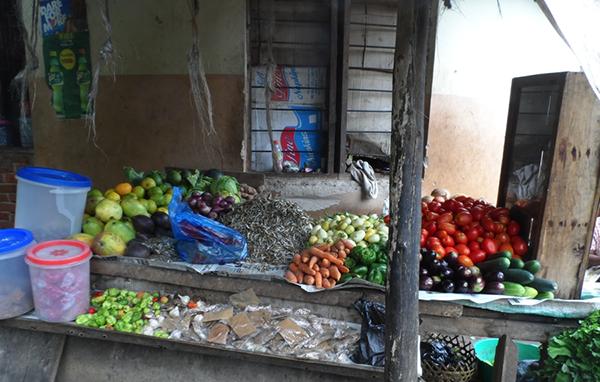 Roadside produce stand in Tanzania