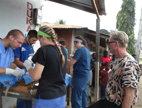 Veterinary students performing surgery in Tanzania