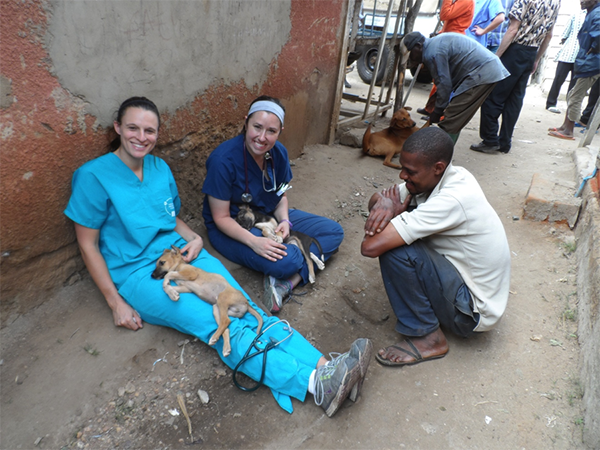 Veterinary students with puppy in Tanzania