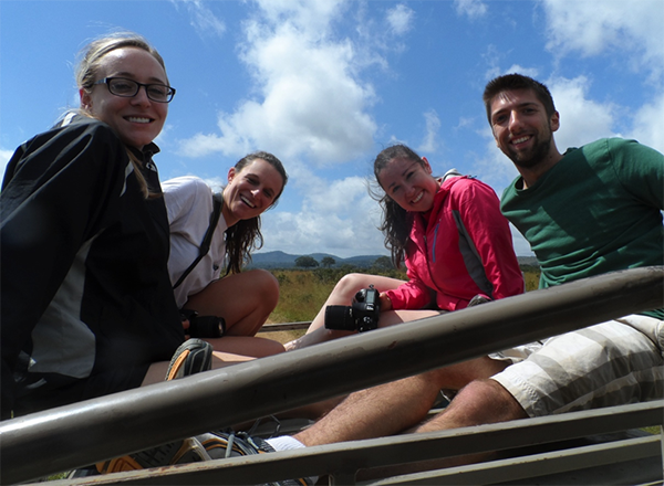 veterinary students riding in truck