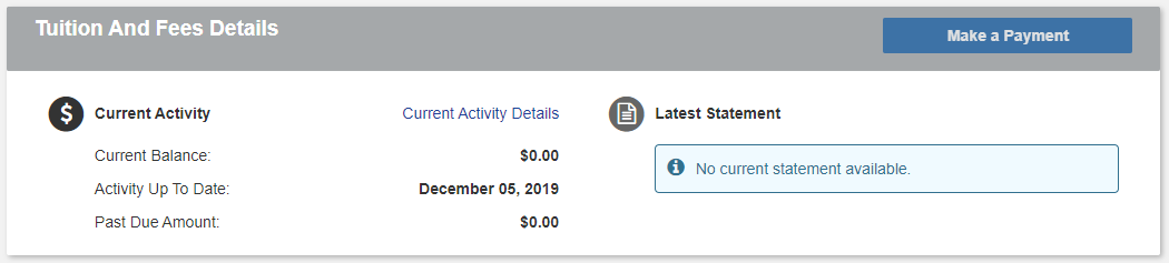 Screen shot of UI-Pay Platform highlighting the due date for your student account